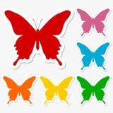 Schmetterlingsikonenaufkleber eingestellt Stockbild