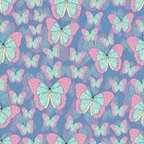 Schmetterlingskarikatur, die nahtloses Muster, Vektorhintergrund zeichnet Abstraktion gezeichnetes Insekt mit Pastellrosatürkis b lizenzfreie abbildung