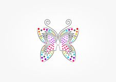Schmetterlingslogo, Badekurort, Mode, Schönheitsfrau, Massage, entspannen sich, Kosmetik und Gesundheitswesenkonzeptdesign lizenzfreie abbildung