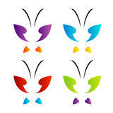 Schmetterlingslogo in den Regenbogenfarben Lizenzfreie Stockfotografie