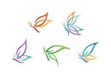 Schmetterlingslogo, Schönheit, Badekurort, Lebensstilsorgfalt, entspannen sich, Yoga, die abstrakten Flügel, die vom Symbolikonen