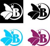 Schmetterlingslogo und der Buchstabe B Stockbilder