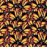 Schmetterlingsmonarch mit nahtlosem Muster der makro strukturierten Flügel vektor abbildung