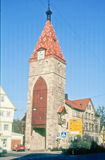 Schmiedturm in Schwäbisch Gmünd,Germany. Gate tower in the outer city wall, pre 1350, (32 m high). Upper tower storey with former tower apartment, put up stock images