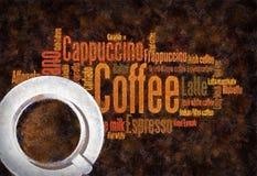 Schmieröl gemalte Kaffeewörter Stockfotografie
