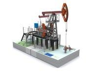 Schmieröl Pumpesteckfassung steht auf einem Satz Euro Stockfotos