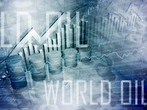 Schmieröl-Trommeln mit Weltschmieröl-Text Stockbilder
