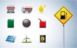 Schmieröl- und Energieikonen Lizenzfreie Stockfotos