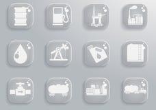 Schmieröl- und Treibstoffindustrienachrichtenikonen Lizenzfreies Stockfoto