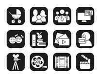 Schmierfilmbildungsikonen eingestellt Film clapperboard, Videofilm, Spielknopf, videographer, Kindersymbol Vektorweißschattenbild Lizenzfreies Stockbild