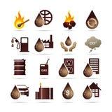 Schmieröl-und Fossilbrennstoff-Energie-Ikonen Stockfotos