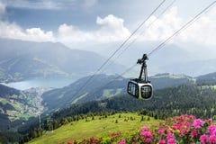 Schmittenhöhe com teleférico, Zell am vê, Áustria Foto de Stock