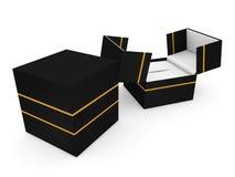 Schmuckkasten auf weißer Wiedergabe des Hintergrundes 3D Stockfoto