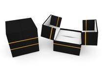 Schmuckkasten auf weißer Wiedergabe des Hintergrundes 3D Stockfotos