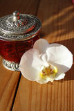 Schmucksachekasten mit weißer Orchidee Stockfoto