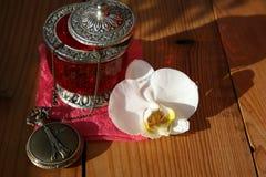 Schmucksachekasten mit weißer Orchidee Stockfotografie