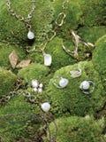 Schmucksachen auf moosigen Steinen Stockfotografie