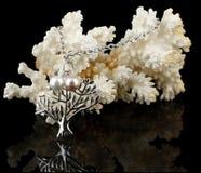 Schmucksachen mit Perlen auf Koralle Lizenzfreies Stockbild