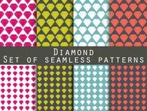 schmucksachen Satz nahtlose Muster mit Diamanten Der facettierte Diamant stock abbildung