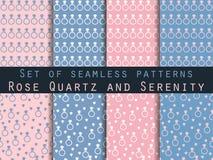 schmucksachen Satz nahtlose Muster mit Diamanten Rosenquarz- und Ruheveilchenfarben vektor abbildung