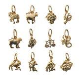 Schmucksachen - zwölf Symbole des Tierkreises, Horoskop Lizenzfreie Stockfotos