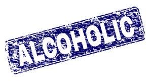 Schmutz-ALKOHOLIKER gestalteter gerundeter Rechteck-Stempel stock abbildung