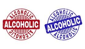 Schmutz ALKOHOLIKER maserte runde Stempelsiegel stock abbildung