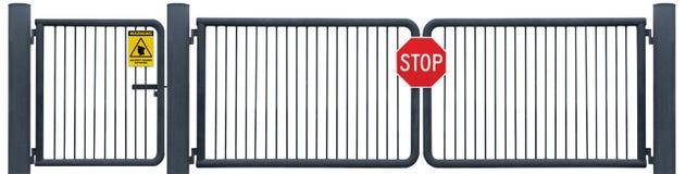 Schmutz alterte verwittertes Straßen-Sperren-Tor-Stoppschild, gelbe Sicherheits-Patrouillen-Warnung lizenzfreie stockfotos