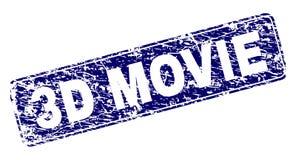 Schmutz 3D FILM gestaltete gerundeten Rechteck-Stempel Lizenzfreie Abbildung