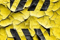 Schmutz-gebrochene schwarze und gelbe Gefahrenstreifen vektor abbildung