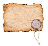 Schmutz heftiges Papier mit Wachsdichtung Stockfotos