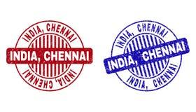 Schmutz INDIEN, CHENNAI maserte runde Stempelsiegel stock abbildung