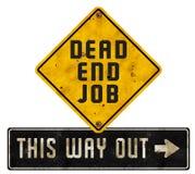 Schmutz Sackgasse-Job Sign Logo Art Ways heraus lizenzfreies stockfoto