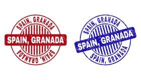 Schmutz SPANIEN, GRANADA verkratzte runde Stempelsiegel vektor abbildung