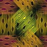 Schmutz streifte und befleckte kariertes nahtloses Muster in den grünen, gelben, braunen, violetten Farben Lizenzfreies Stockbild