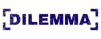 Schmutz strukturiertes DILEMMA Stempelsiegel zwischen Ecken vektor abbildung
