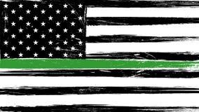Schmutz USA-Flagge mit einer dünnen Grünen Grenze vektor abbildung