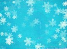 Schmutz-Weihnachtshintergrund mit Schneeflocken Stockbilder