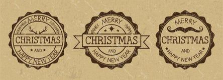 Schmutz-Weihnachtsstempel auf altem Papierhintergrund Wilde Westart Stockfotografie