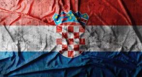 Schmutz zerknitterte Kroatien-Flagge Wiedergabe 3d Stockfotos