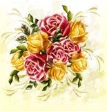 Schmutzauslegung mit Roseblumenstrauß in der Weinleseart Stockfotos