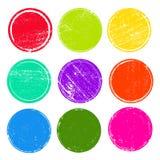 Schmutzbeitrags-Stempelsammlung farbige Kreise Fahnen, Insignien, Logos, Ikonen, Aufkleber und Ausweise eingestellt leere Formen  vektor abbildung