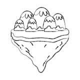 Schmutzeisberge und -büsche in der Flossinsel lizenzfreie abbildung