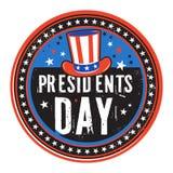 Schmutzfarbstempel oder -aufkleber mit Hut und Text Präsidenten Day vektor abbildung
