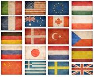 Schmutzflaggen: USA, Großbritannien, Italien, Frankreich, Dänemark, deutsch Stockbilder