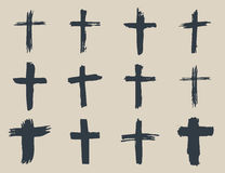 Schmutzhand gezeichneter Quersymbolsatz Christliche Kreuze, religiöse Zeichenikonen, Kruzifixsymbol-Vektorillustration Lizenzfreies Stockbild