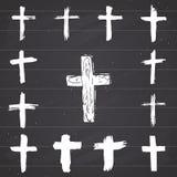 Schmutzhand gezeichneter Quersymbolsatz Christliche Kreuze, religiöse Zeichenikonen, Kruzifixsymbol-Vektorillustration Lizenzfreies Stockfoto