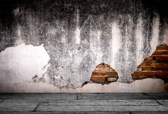 Schmutzhintergrund, der Wand-Beschaffenheit des roten Backsteins helle vergipste Wand Stockbild