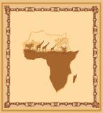 Schmutzhintergrund mit afrikanischer Fauna und Flora Lizenzfreie Stockfotos