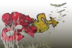 Schmutzhintergrund mit Graffiti und schmutziger Wand lizenzfreie abbildung
